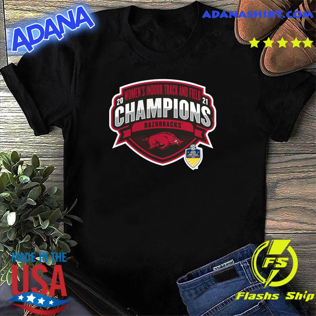 Official Arkansas Razorbacks 2021 Sec Women's Indoor Track & Field Conference Champions Shirt