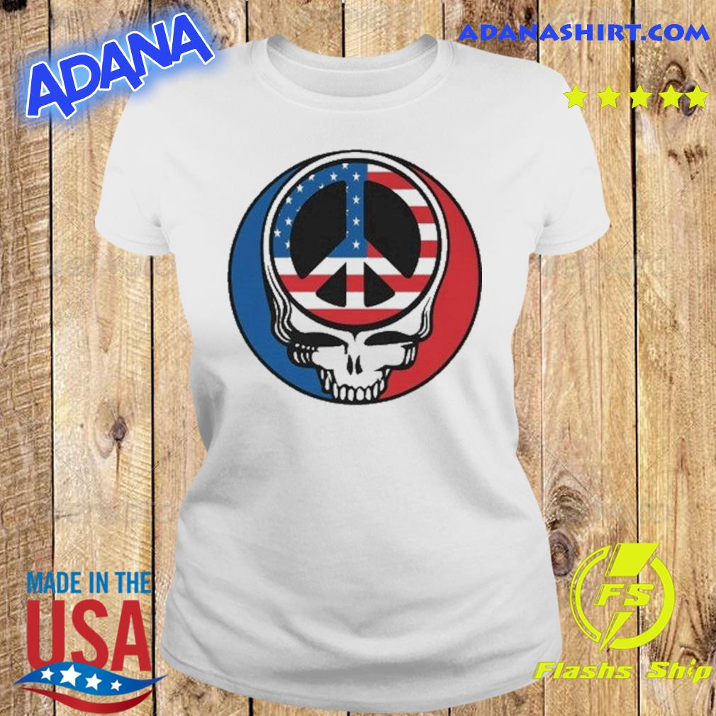 Official Peace Grateful Dead Steal Your Face American Flag Shirt Ladies tee