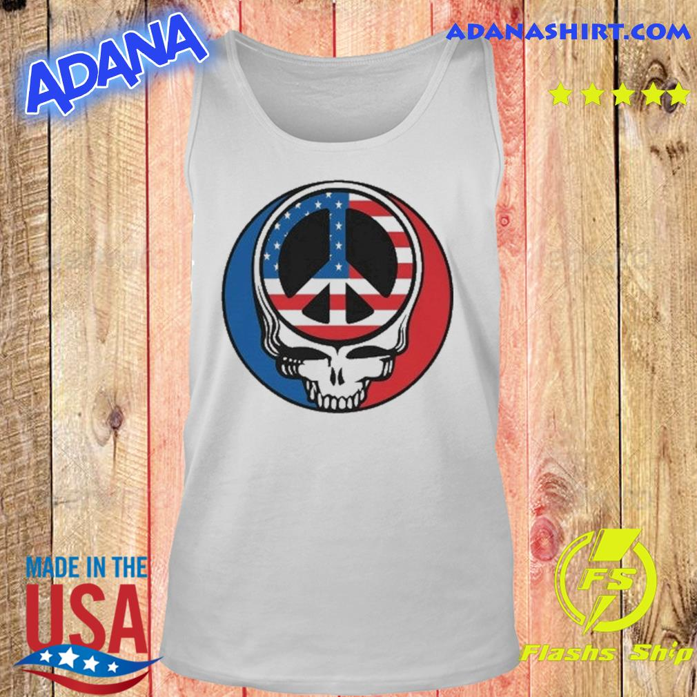 Official Peace Grateful Dead Steal Your Face American Flag Shirt Tank top