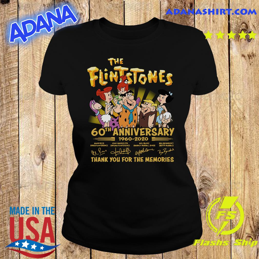 The Flintstones 60th Anniversary 1960 2020 Thank You For The Memories Signatures Shirt Ladies tee
