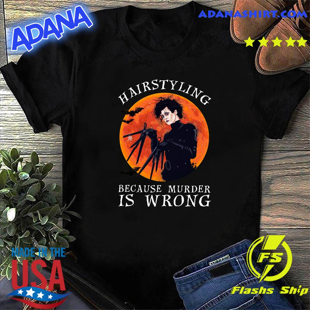 Vampire Hairstyling Because Murder Is Wrong Halloween Moon Shirt