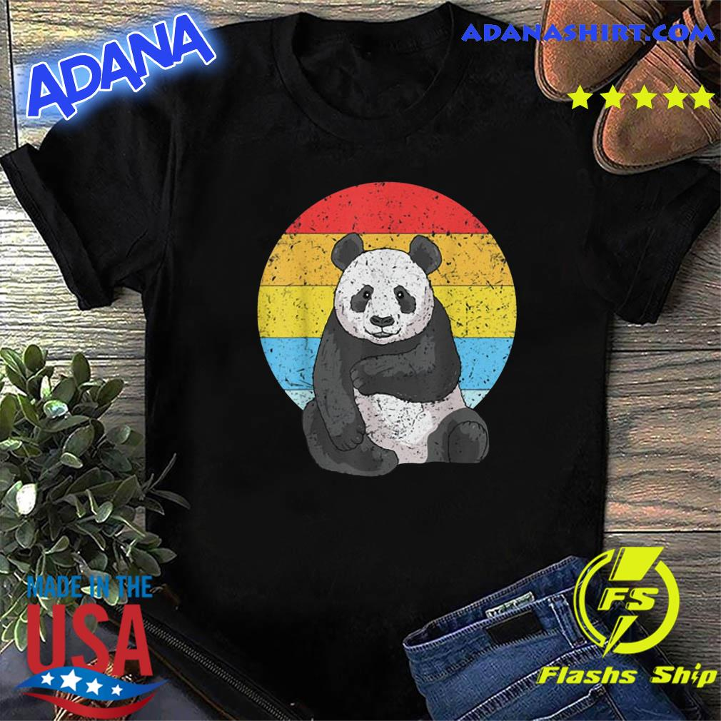 Sunset Panda Vintage Retro Panda Shirt