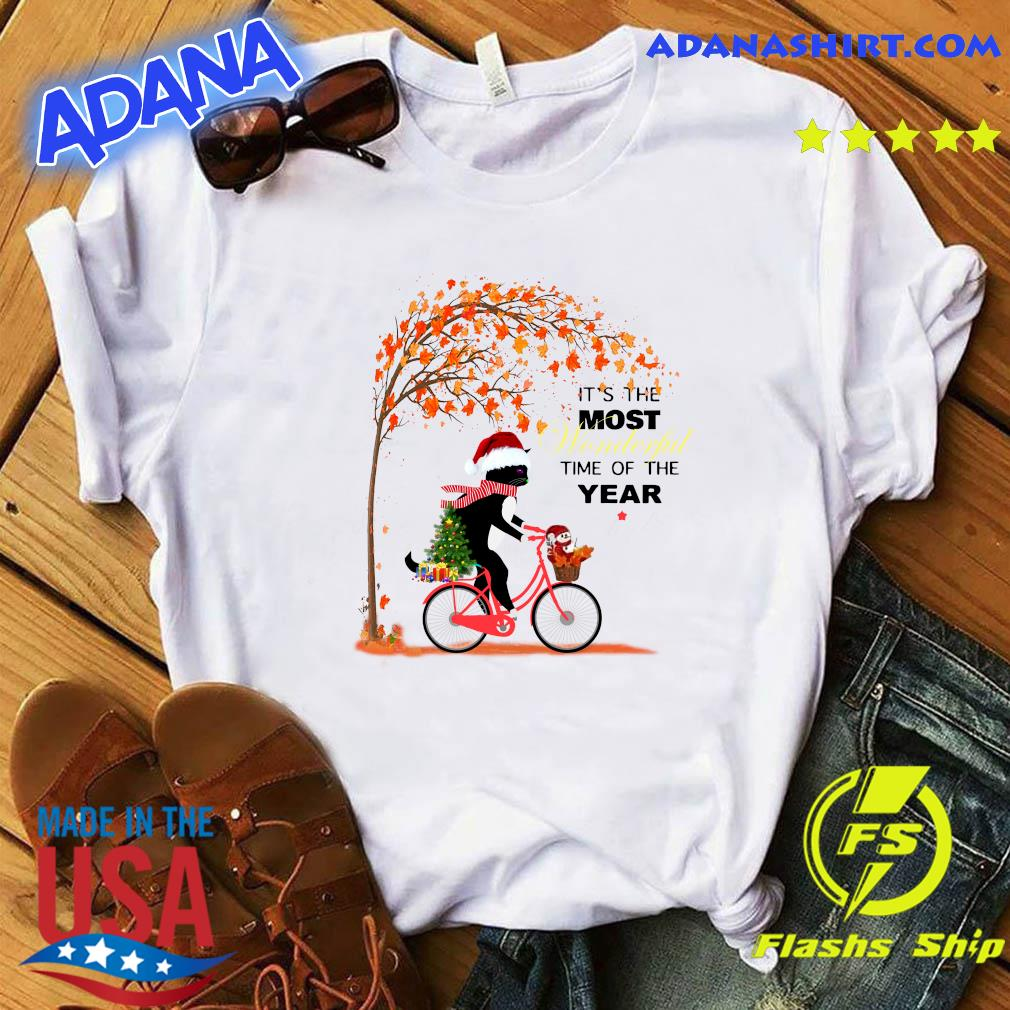 Black Cat Santa Riding Cycle It's The Most Wonderful Time Of The Year Merry Christmas Tree Sweatshirt