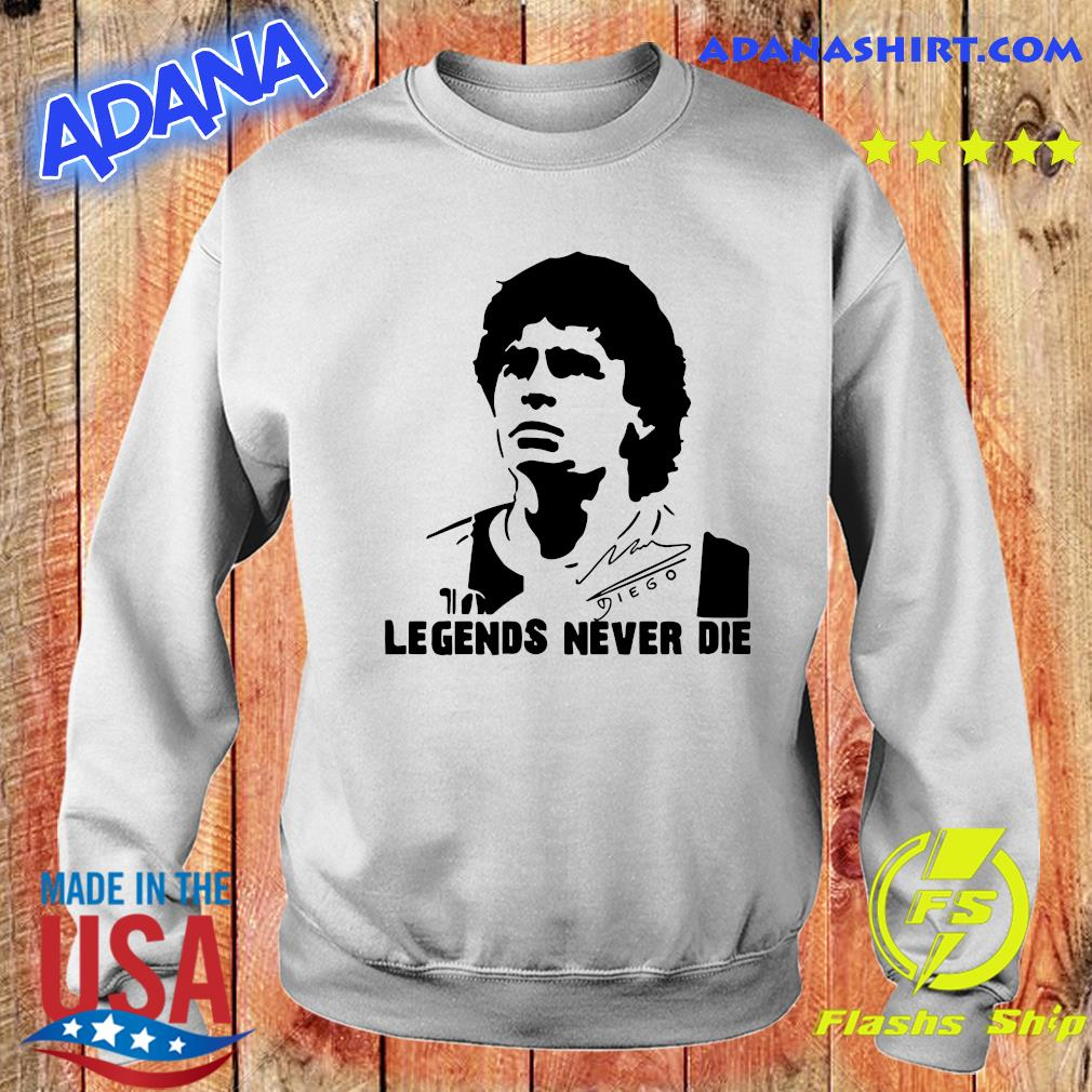 Legend never dies Diego Armando Maradona 10 Soccer Legend, Football Napoli Maradona, Legend Soccer T-Shirt Sweater