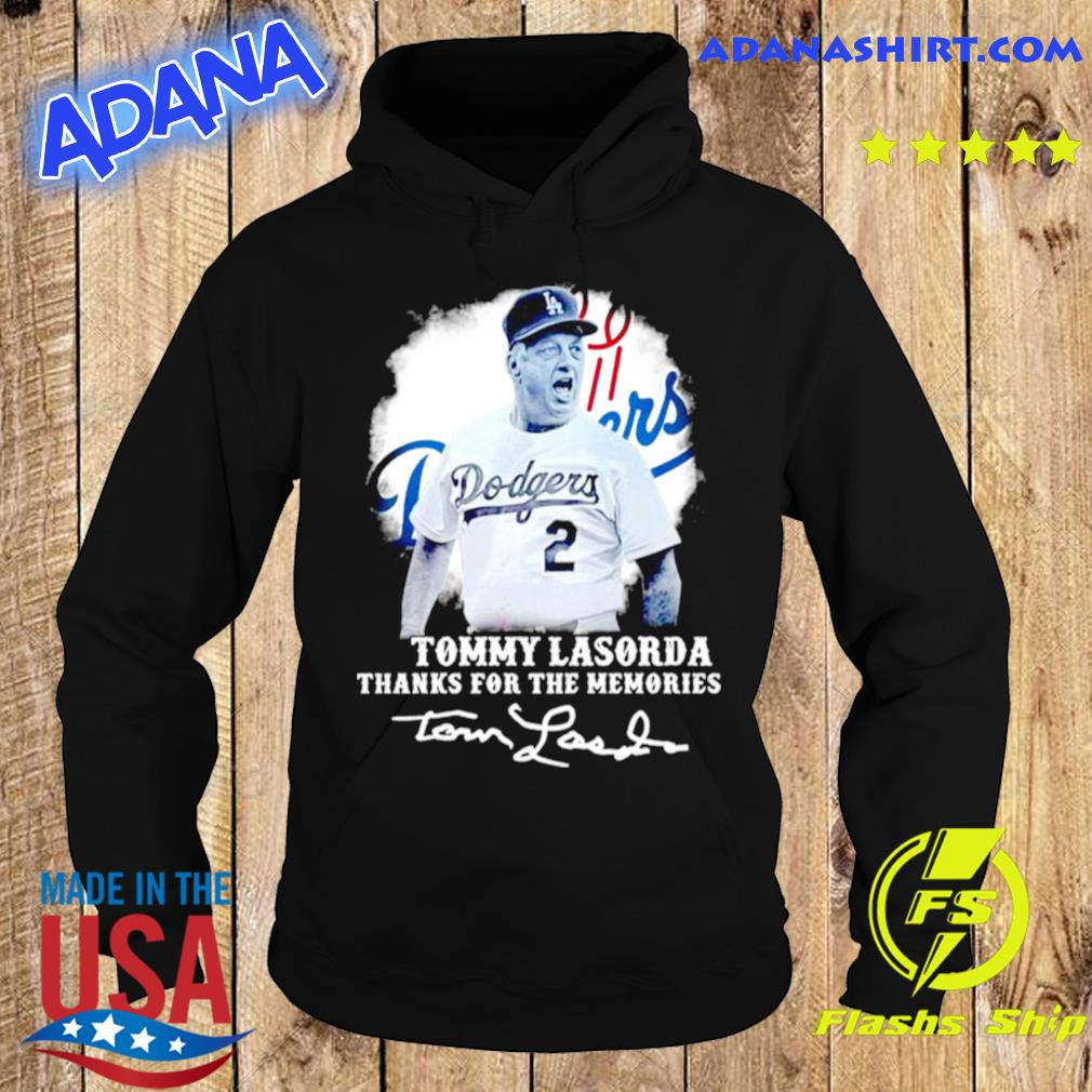 Los Angeles Dodgers Tommy Lasorda Thanks For The Memories Signatures s Hoodie