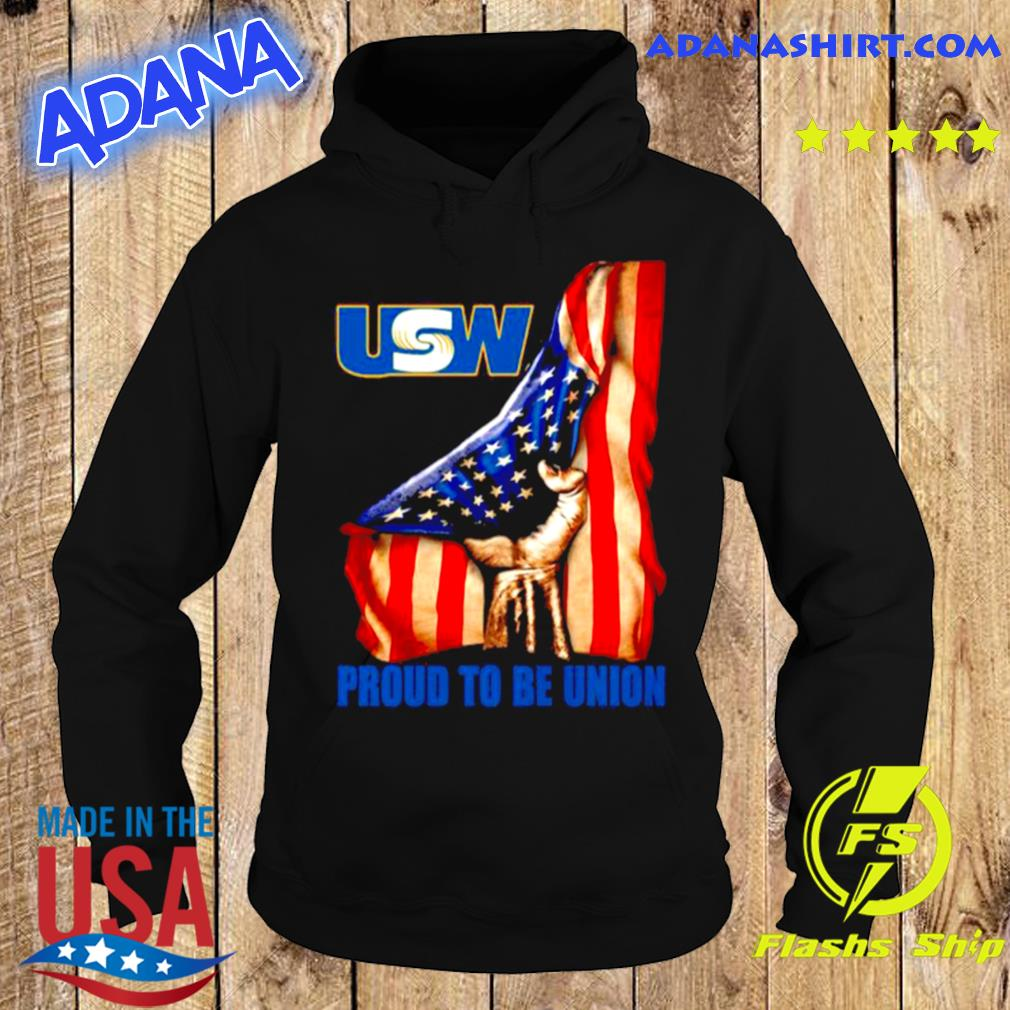 United Steelworkers Logo Proud To Be Union American Flag s Hoodie